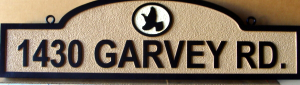 H17055 -  Carved and Sandblasted HDU Road Address Sign, Garvey Way, with Eagle as Artwork