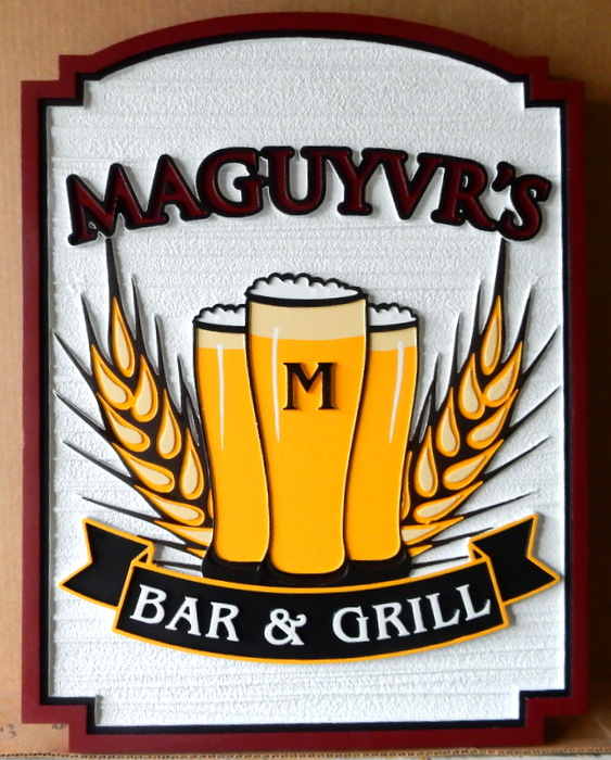 "RB27559A -  Carved and Sandblasted HDU Entrance Sign for  ""McGuyvrs Bar & Grill "" ,  with Pints of Ale and Barley Grain as Artwork"