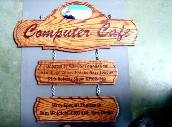Q25635 - Carved Wood Sign with Eagle for Computer Cafe with Nameplate for Donors: Warrior Foundation and Council of the Navy League