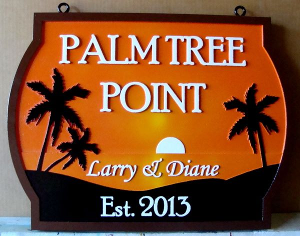 "L21215 - 2.5-D Carved HDU Property Name Sign ""Palm Tree Point"" with Setting Sun over Ocean with Palm Trees"