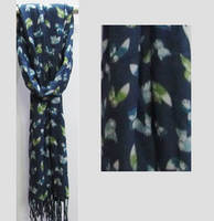 Fox Viscose Scarf with Fringe - Dark Blue