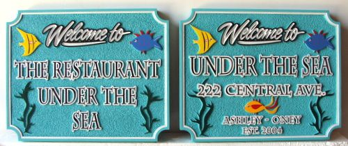 "Q25154 - Carved HDU ""Welcome  to The Restaurant Under the Sea"" Sign with Coral Fish and Seaweed"