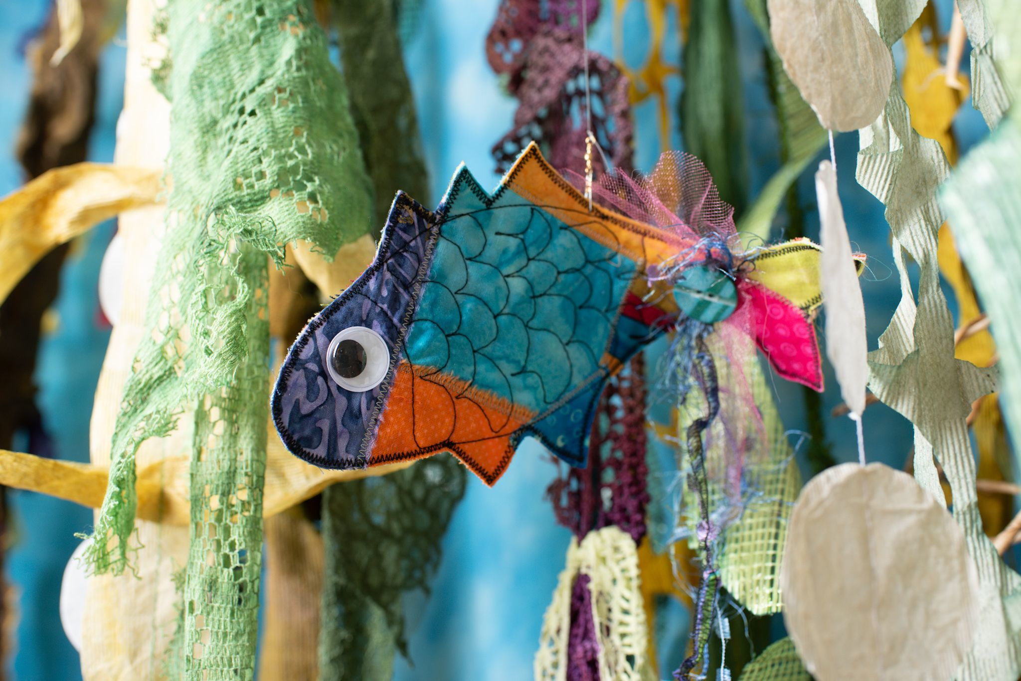 "Sherry Henrickson -  ""Patchwork Fish"" hanging ornaments"