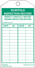 Scaffold Inspection Record Tag