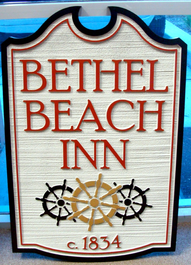 L21764 -Sandblasted HDU Sign for Bethel Beach Inn  with Wood Grain Background and Carving of Three Ship's Wheels