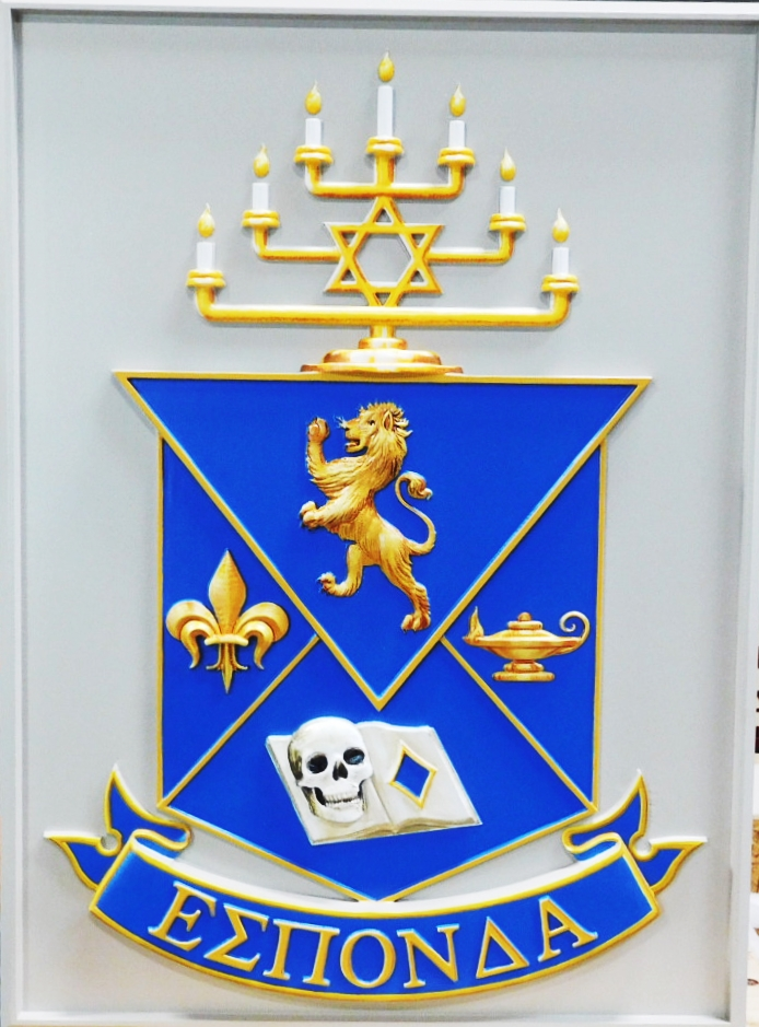 SP-1140 - Carved Wall Plaque of College Fraternity  Alpha Epsilon Pi (AEPi) Coat-of-Arms,  3-D  Artist Painted
