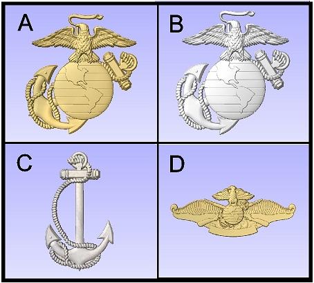 V31496 - USMC 3D Carved Art Appliques for Plaques