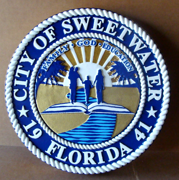 DP-2200 - Carved Plaque of the Seal of the City of Sweetwater, Florida, Artist Painted