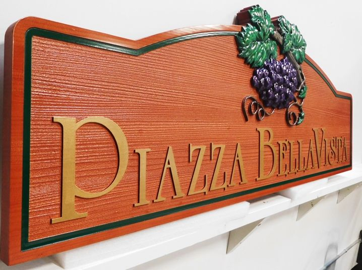 "R27411 - Carved Cedar Wood Sign for ""Piazza Bella Vista"" , Side View"