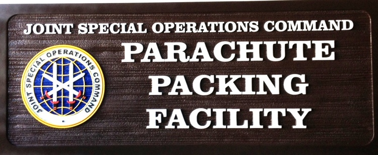 MP-2600 - Carved Plaque of the Insignia of  a Parachute Packing Facility,  US Army,  Artist Painted