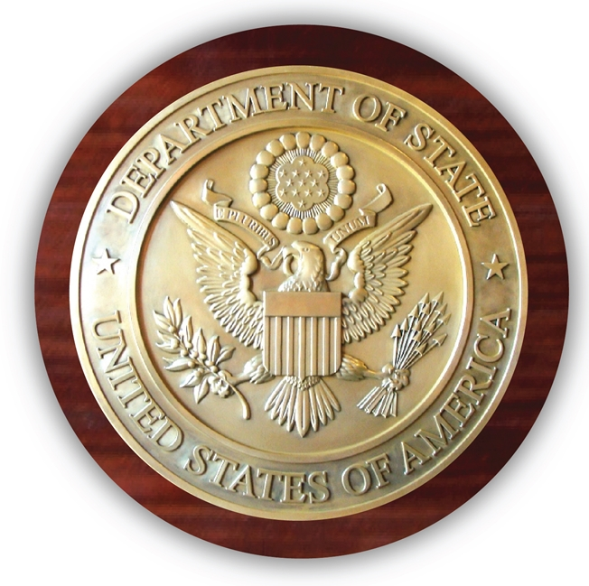 EA-2020 - Great Seal of the United States Mounted on a Mahogany Plaque