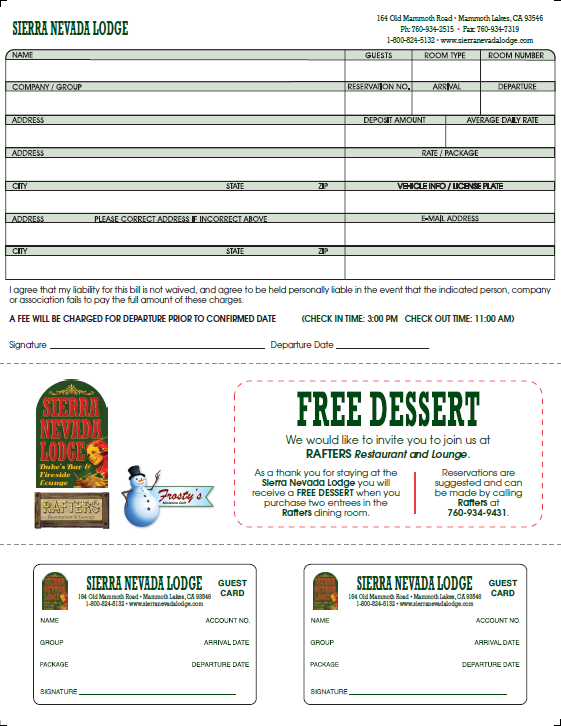 Sierra Nevada Lodge Registration Form with Peel-Off ID Cards