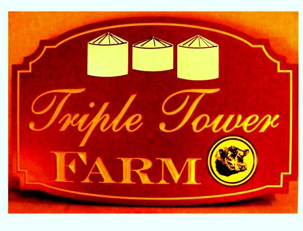 O24742 - Engraved HDU  Entrance Sign for Triple Tower Farm