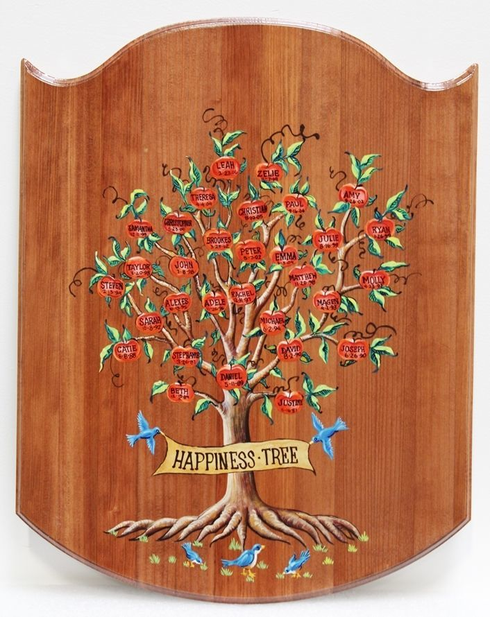 """N23033 - Engraved Redwood Plaque of  """"The Happiness Tree"""" with Names of Family Members"""