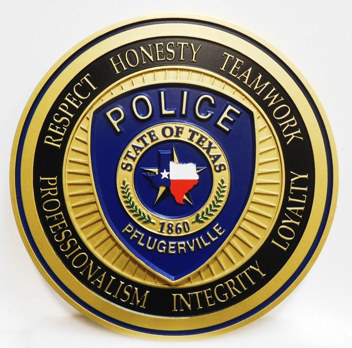 PP-2439 - Carved Plaque of the Shoulder Patch  of the Police Department of  Phlugerville, Texas, 2.5-D Artist-Painted