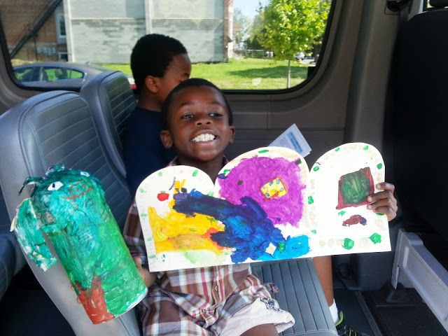 Proud of his artwork!