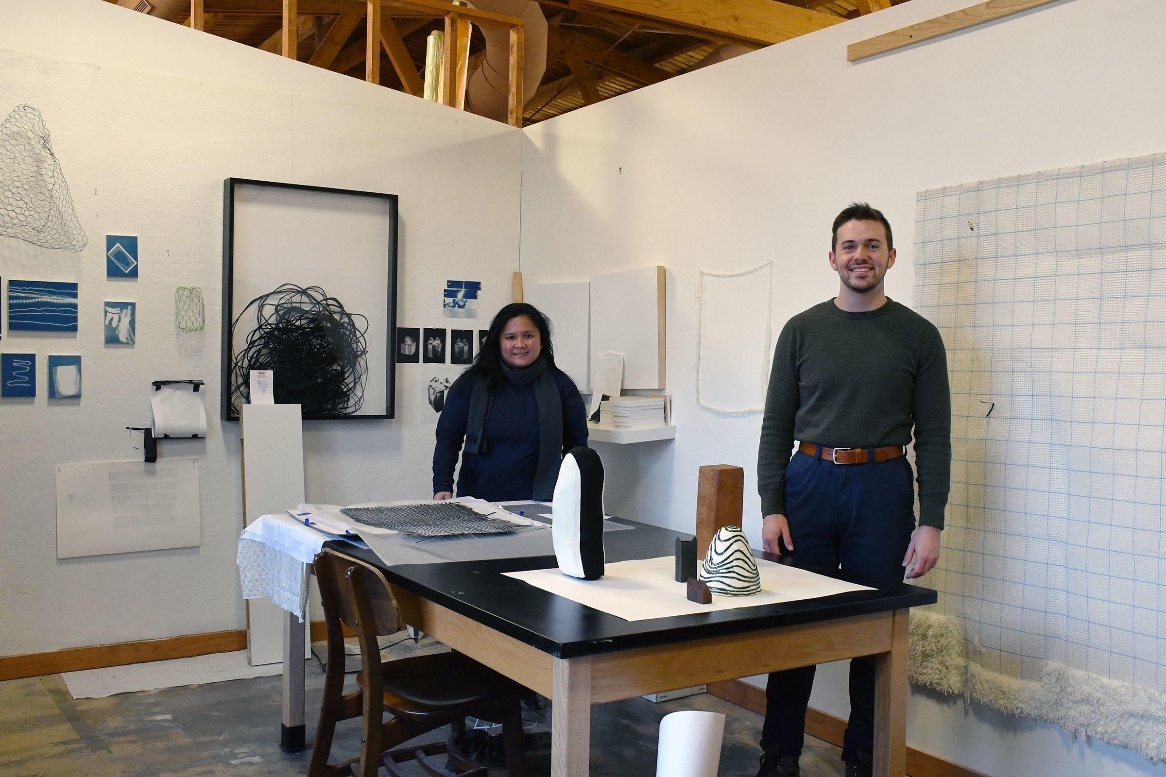 Artists Hannah Israel and Dalton Newbend in studio