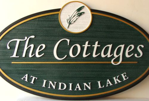 M22411 - The Cottages, a Sandblasted HDU Sign, with Indian Feathers Art