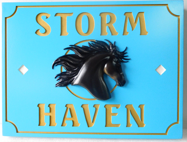 P25027 - Carved HDU sign for Horse Farm, 24K gold-leaf