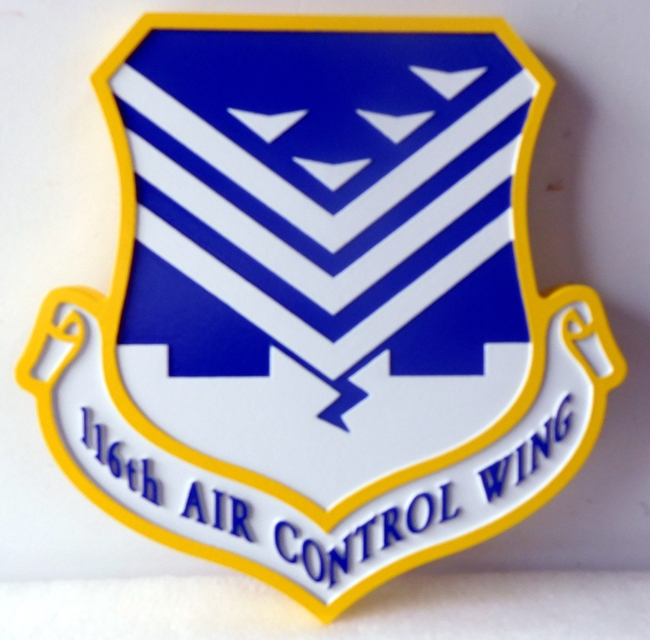 LP-2160 - Carved Shield Plaque of the Crest of the 116th Air Control Wing, Artist Painted