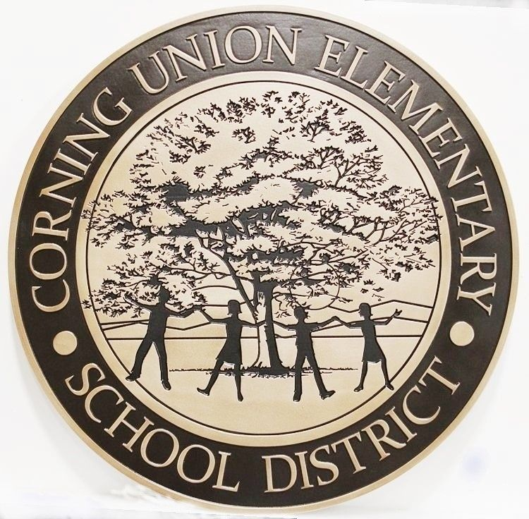 TP-1201 - Carved 2.5-D HDU Plaque of the Seal of the Corning Union Elementary School District