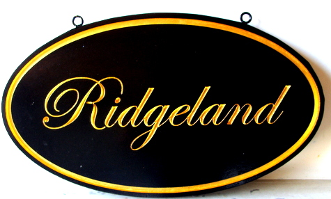 "I18102 - Carved Wood Property Name Sign for Country Estate ""Ridgewood"", with 24K Gold-Leafed Text"