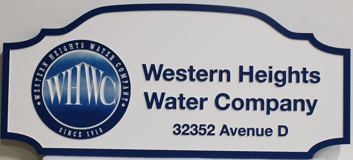 """S28145 - Carved 2,5-D Raised Relief High-Density-Urethane (HDU) Sign  for the """"Western Heights Water Company"""", with Engraved Logo"""