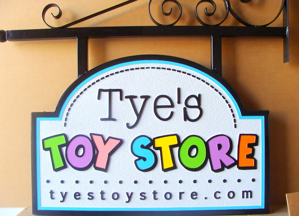 SA28022 - Carved, High Density Urethane (HDU) Sign for Toy Store