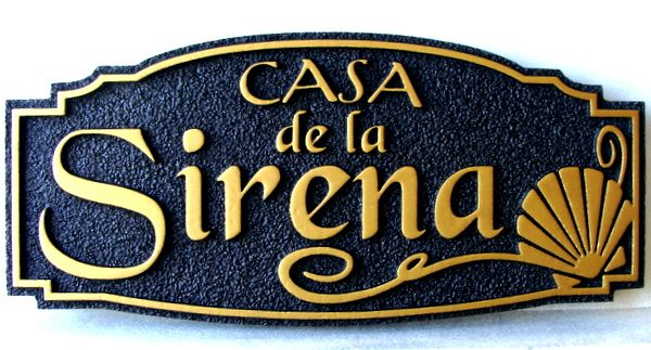 """L21520 - Carved and Sandblasted Formal Seashore  Residence Sign with Shell, """"Casa de La Sirena"""", Black & Gold"""