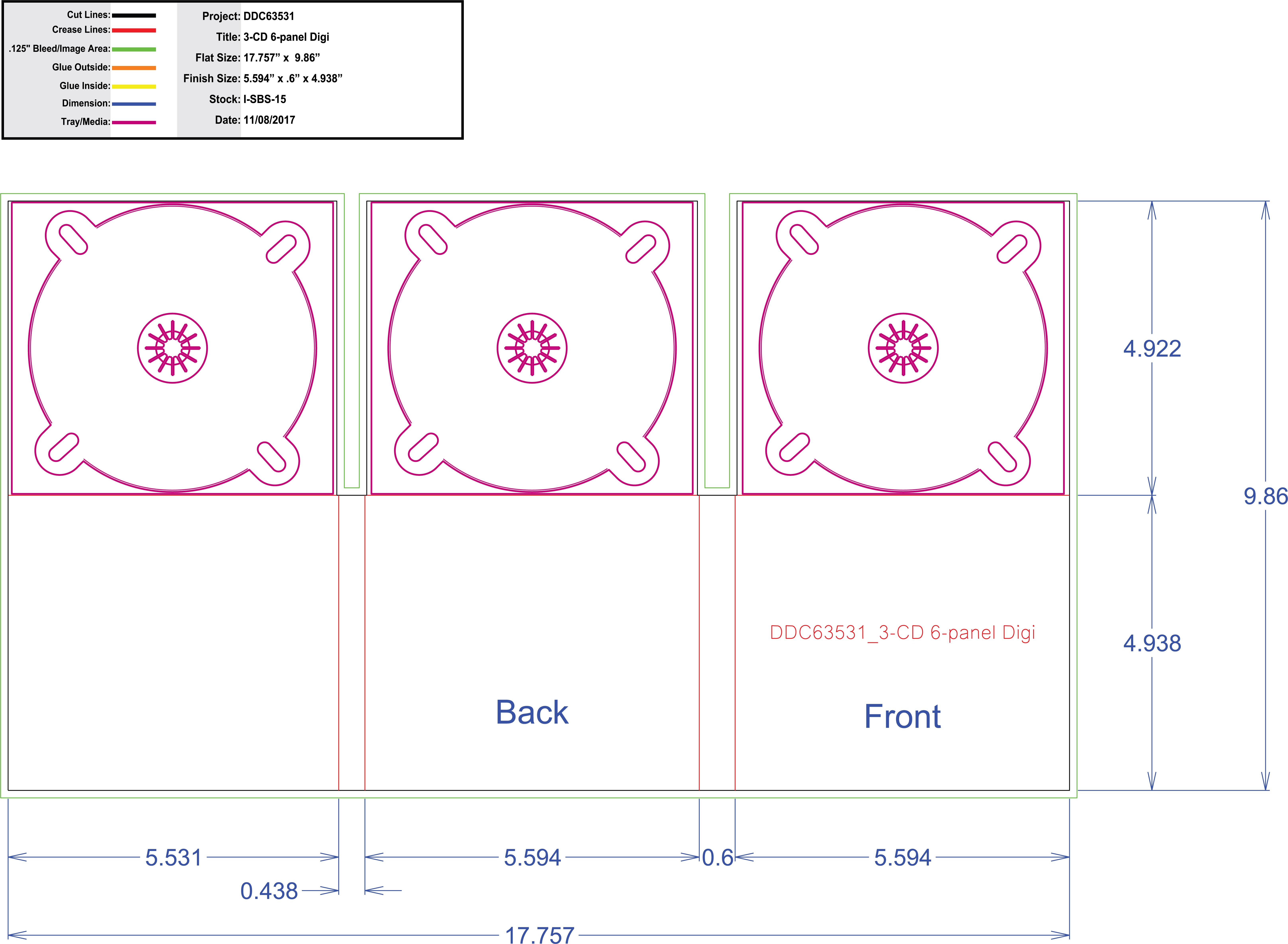 DDC63531 - 6 panel Digi Three Tray Roll Fold
