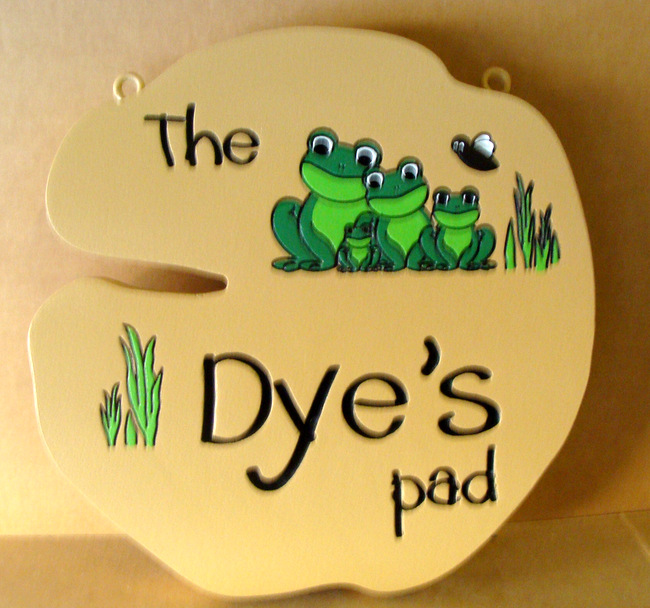 "M22431 - Whimsical  Engraved  HDU Property Name  sign for ""The Dye's Pad"", with Four frogs as Artwork"
