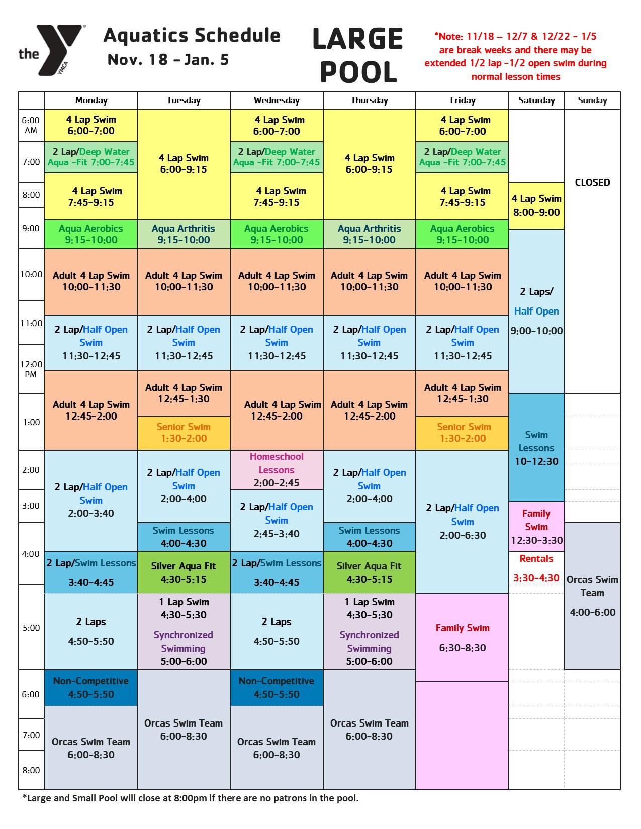 Winter Pool Schedule