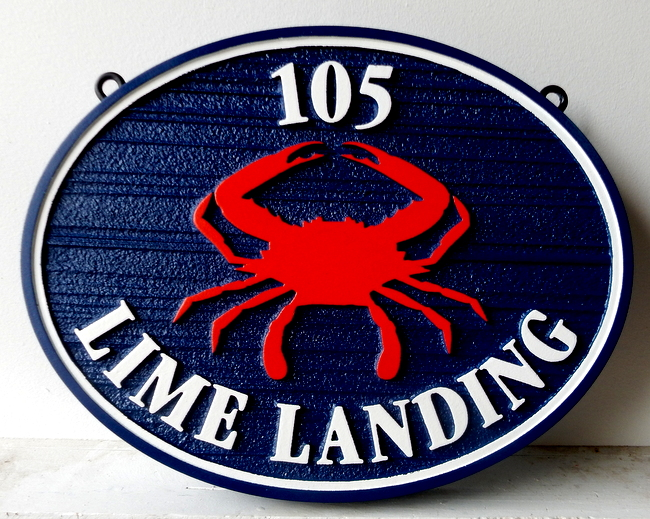 L21564 - Sandblasted HDU Coastal Address Sign with Crab
