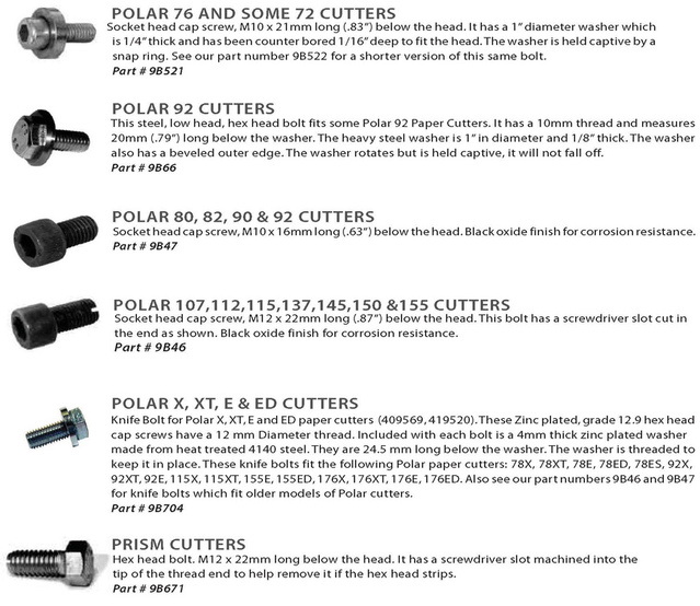 Polar 76, Polar 92, Polar 80, Polar 107, Polar 115, Polar 137, Polar 145, Polar 155, Prism knife bolts