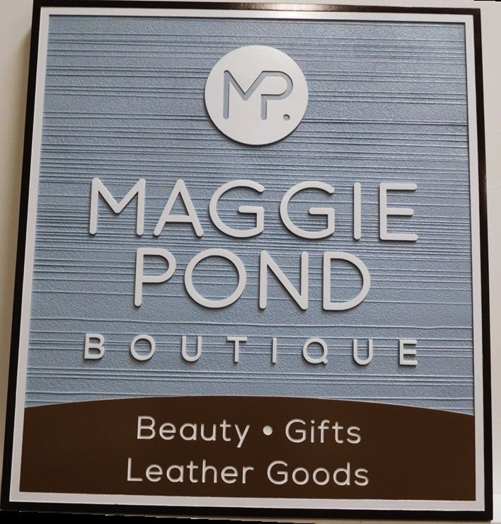 """S28123-  Carved and Sandblasted Wood Grain  HDU Commercial Sign  for the """"Maggie Pond Boutique"""" Store, 2.5-D Artist-Painted"""