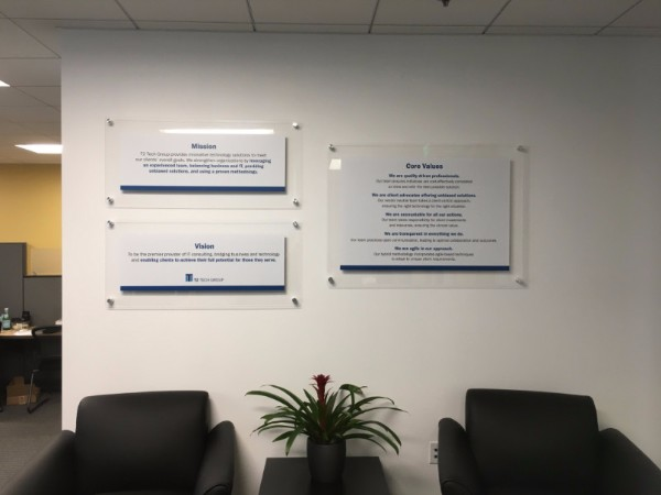 Vision Statement Signs for Lobbies in LA County CA