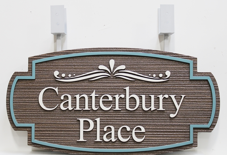 """I18180 -  Carved and Sandblasted High-Density-Urethane (HDU)  Sign for """"Canterbury Place"""""""