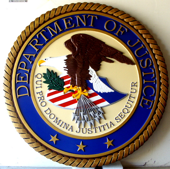 A10808-  3-D Carved Wall Plaque of the Great Seal of the Department of Justice, Painted in Official Colors