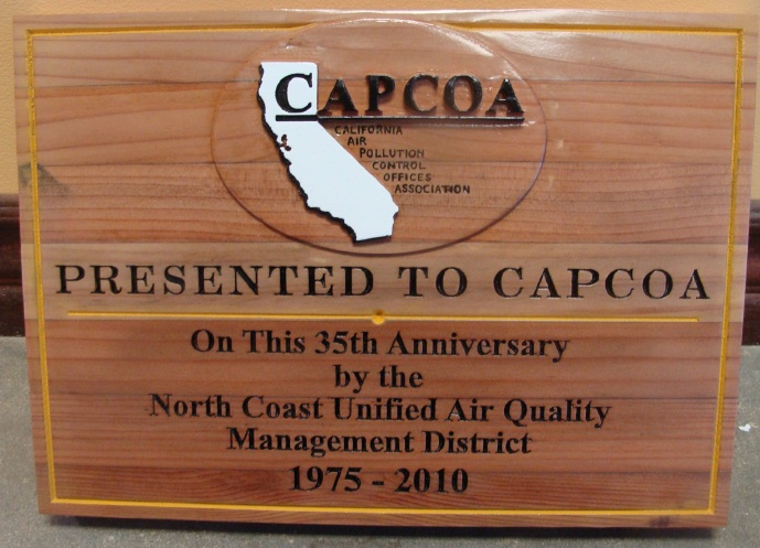WP5080 -  Plaque for an Air Quality Management District, California, 2.5-D Stained Redwood