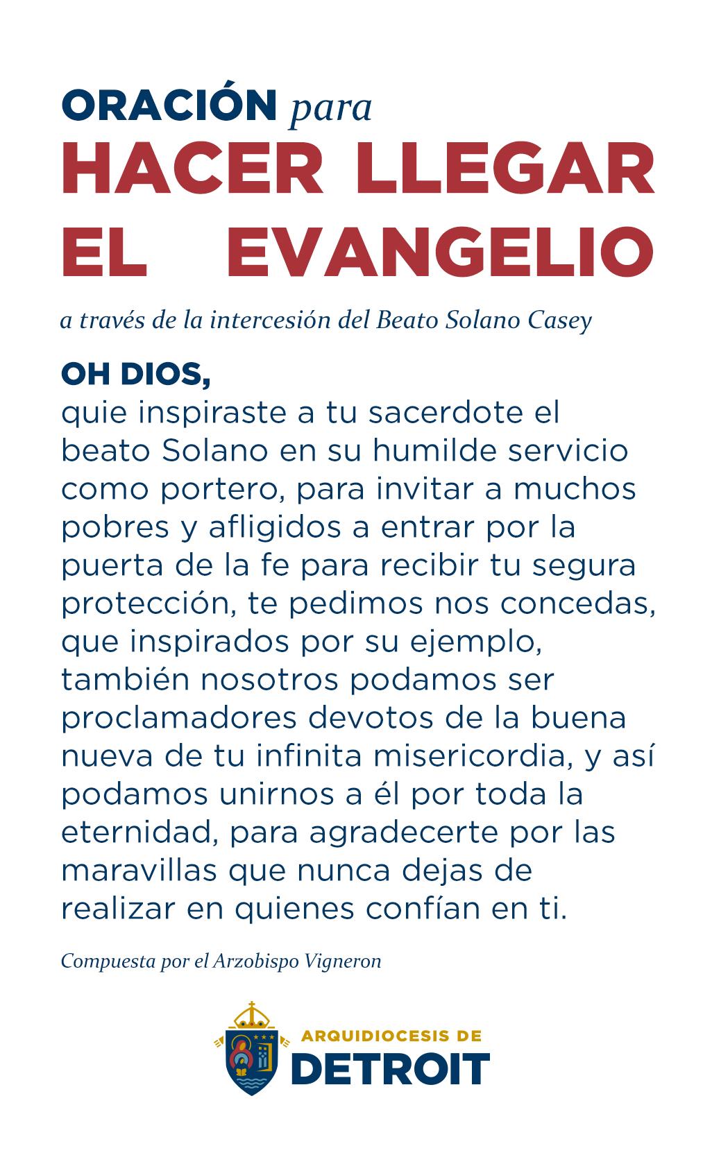 Oración para hacer llegar el evangelio a través de la intercesión del Beato Solano Casey