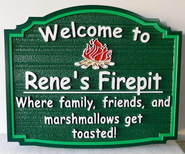 G13343 - Carved, HDU Sign for in Outdoor Firepit Camp Restaurant