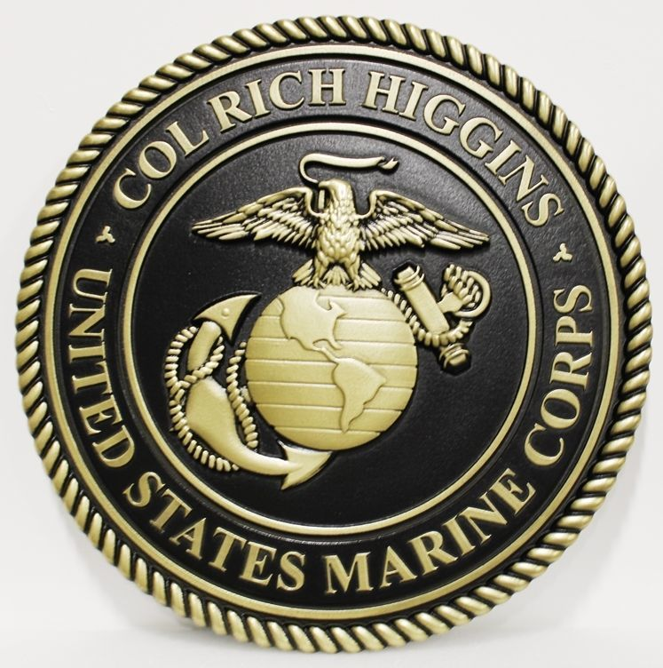 KP-1165 - Carved 3-D Bas-Relief HDU Plaque  of a Personalized Emblem of the US Marine Corps for a USMC Colonel