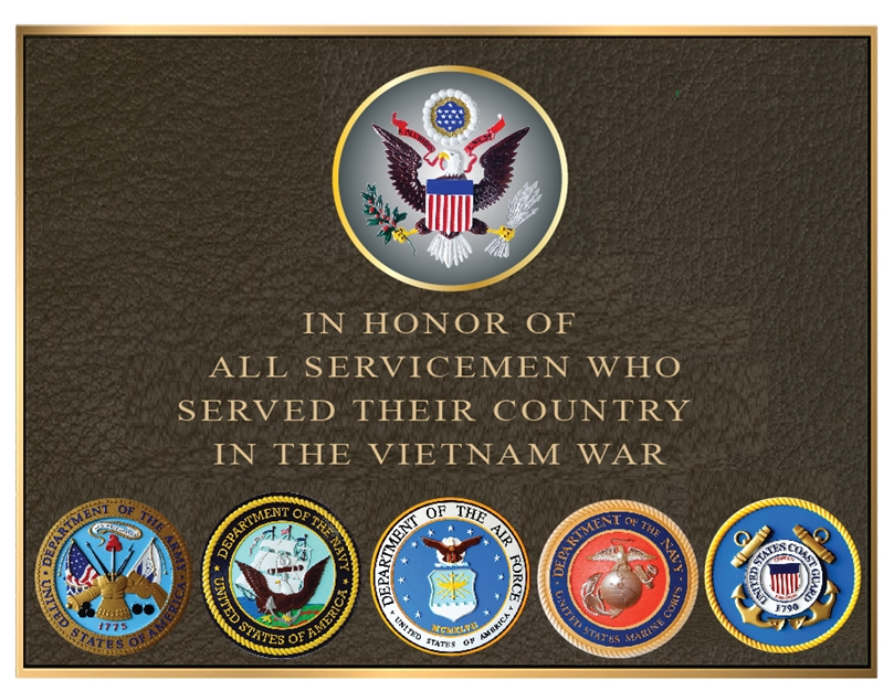 ZP-1020- Carved Memorial Wall Plaque honoring  the Servicemen & Women  Who  Have Served in the Vietnam War