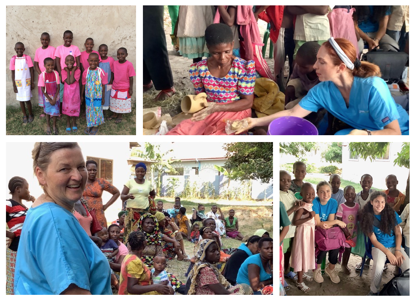 Collage of photos: 1. Group of children smiling in pink shirts, 2. Woman and nurse working on pottery, 3. group of people smiling, 4. group of children smiling.