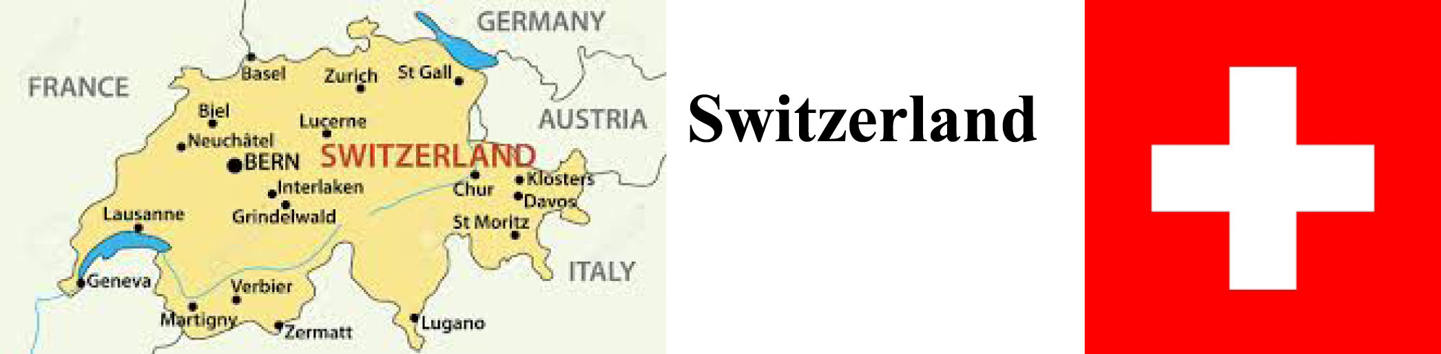 Switzerland Map & Flag