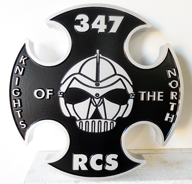 "MP-2400 - Carved Plaque of the Insignia of the 347 RCS ""Knights of the North"",  US Army,  Artist Painted"