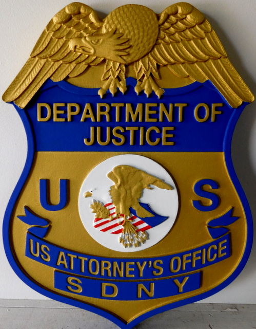 U30386 - Carved 3-D High-Density-Urethane (HDU) Wall Plaque of the  Badge of  a Special Agent of ICE, Department of Homeland Security.