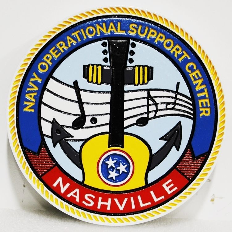 JP-2430 - Carved 2.5-D Plaque of the Crest of the Navy Operational Support Center in Nashville, Tennessee