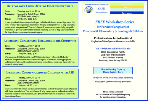 Addressing Challenging Behaviors in the Community for Parents/Caregivers of Preschool and Elementary School-Aged Children (Bergen County)