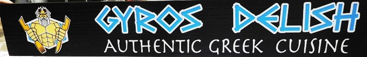 "Q25043 - Carved  Sign for the ""Gyros Delish""   Greek  Restaurant with Raised Outline Text and  Neptune as Artwork"